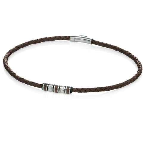 Brown leather and steel bead necklace