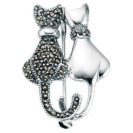Silver and marcasite double cat brooch