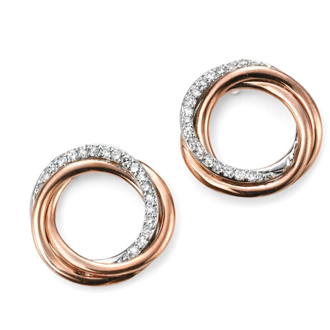 9ct rose gold and diamond open twist earrings