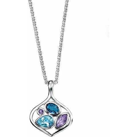London blue topaz & amethyst open necklace
