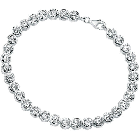 Silver tennis bracelet with cubic zirconia