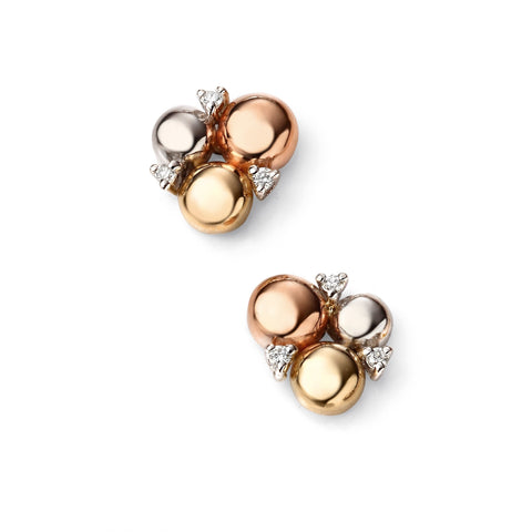 Rose, white & yellow gold circle stud earrings with diamonds
