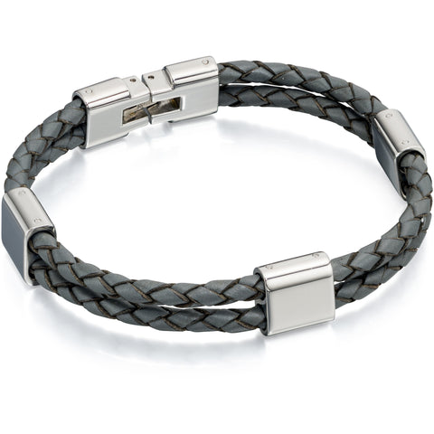 Grey leather and stainless steel bracelet