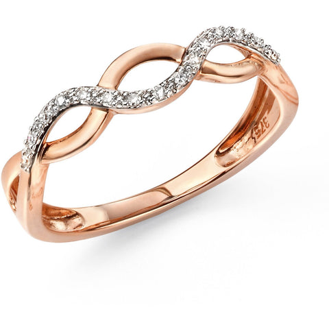 9ct rose gold and diamond paved wave ring