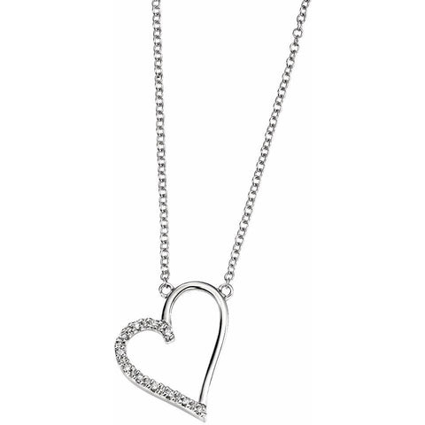9ct white gold open heart necklace with pave set diamonds