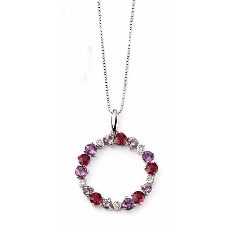 Diamond, Amethyst, Rose de France Amethyst, Brazilian Garnet and White Gold Circle necklace