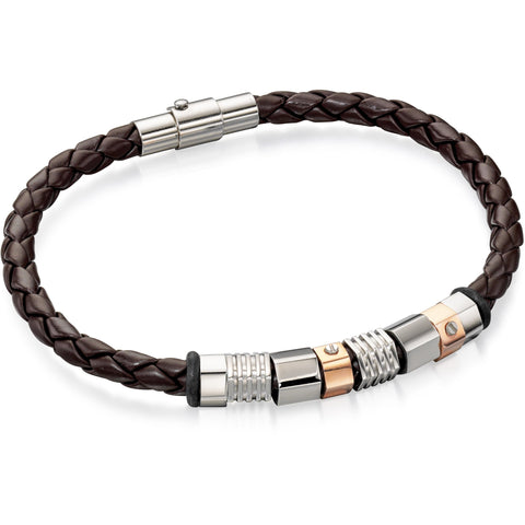 Brown leather bracelet with steel and rose plated beads