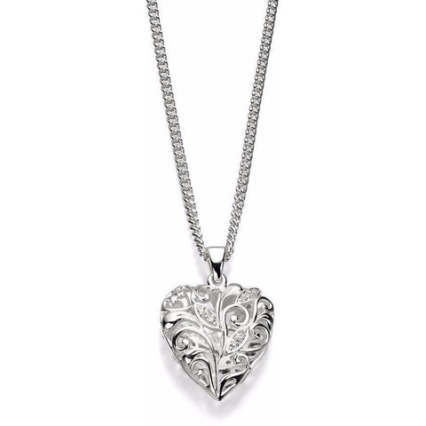 Silver filigree heart and cubic zirconia necklace