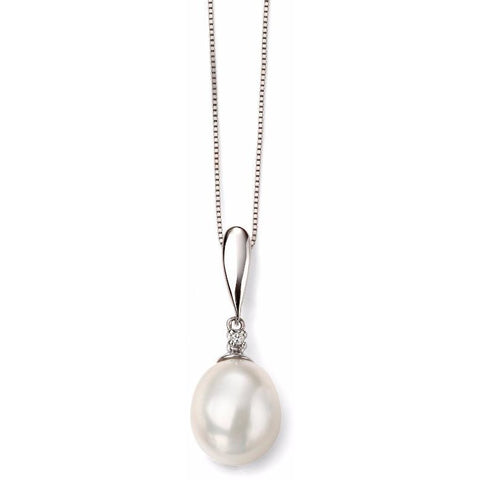 Pearl, diamond and white gold necklace