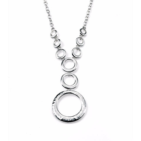 Hammered silver disc necklace