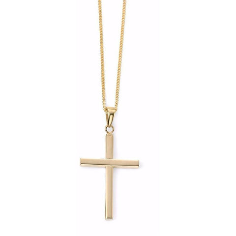 9ct Yellow Gold large cross necklace