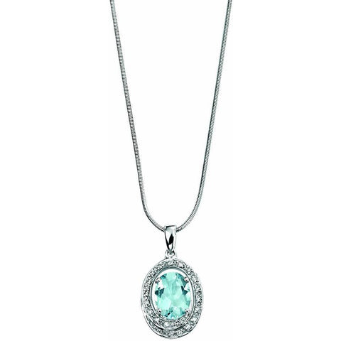Aquamarine, diamond and white gold halo necklace