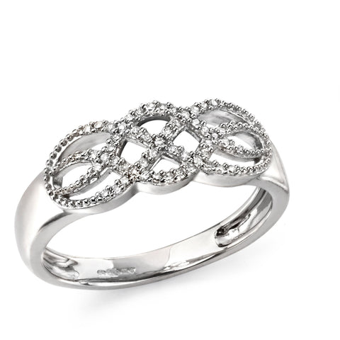 9ct white gold and diamond celtic style twist ring