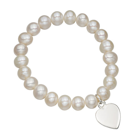 Children's pearl bracelet with silver heart charm