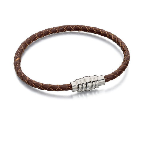 Slim brown leather and steel bracelet