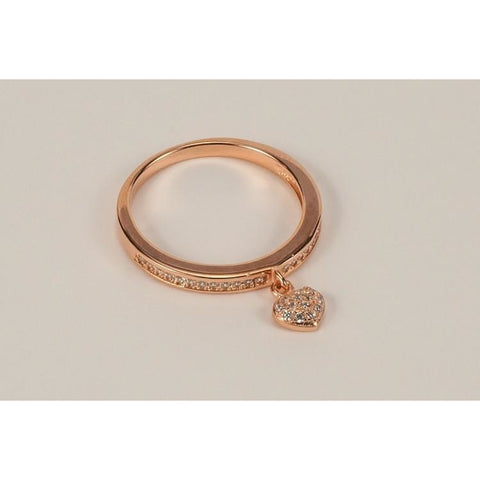 Rose gold vermeil & heart charm ring