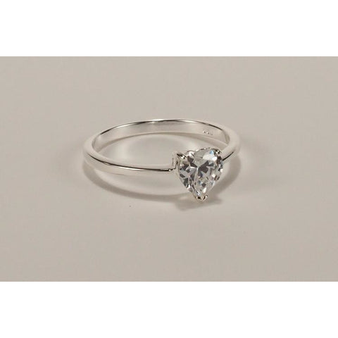 Silver ring with heart cubic zirconia