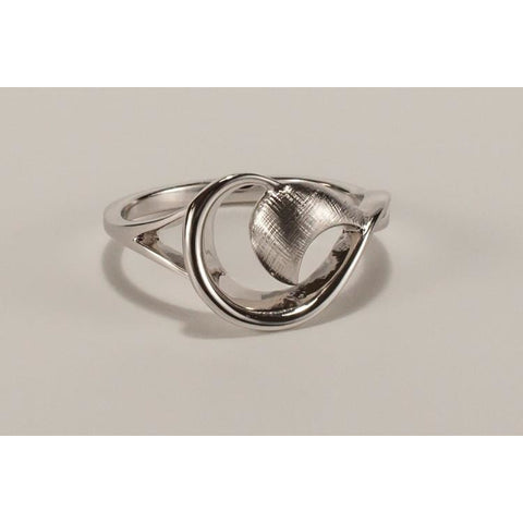 Modern crescent solid silver ring