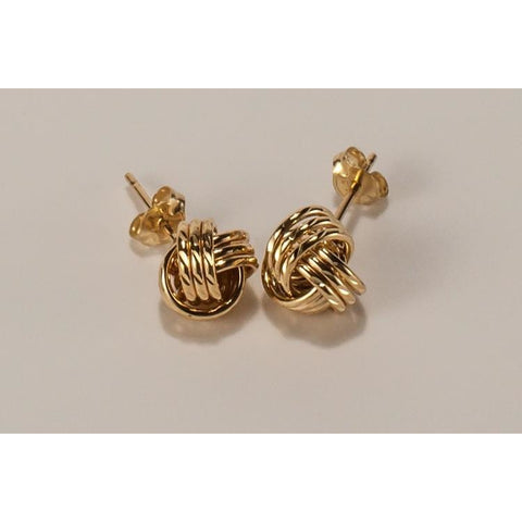 Solid 9ct gold knot earrings