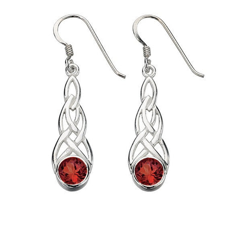 Silver Celtic drop earrings with garnet cubic zirconia