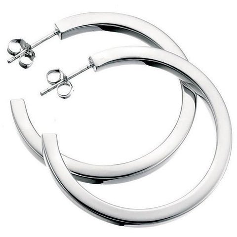 Silver square-cut hoop earrings