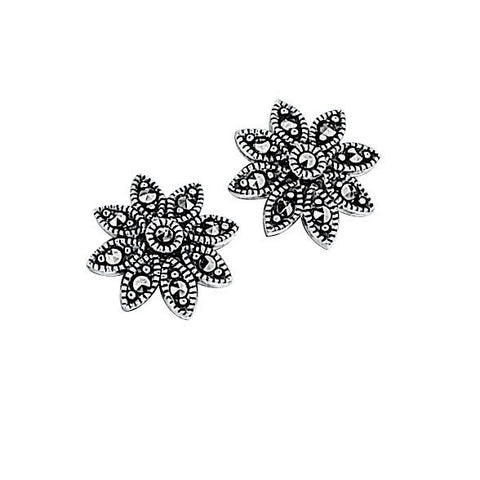 Silver daisy stud earrings with marcasite