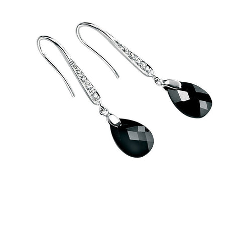 Black cubic zirconia teardrop hook earrings