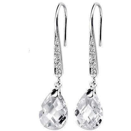 Cubic zirconia teardrop hook earrings