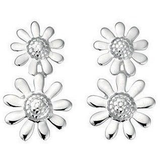 Double flower solid silver earrings