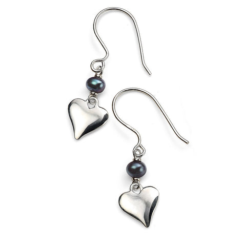 Grey freshwater pearl and silver heart drop earrings