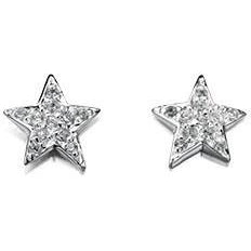 Clear cubic zirconia and silver star stud earrings
