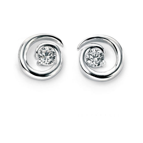 Silver spiral stud earrings with cubic zirconia