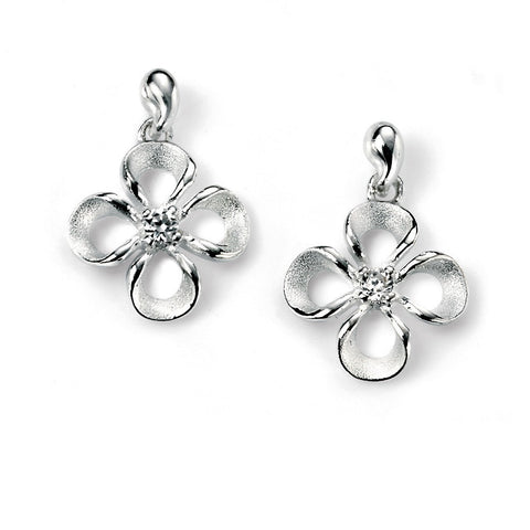 Silver flower drop earrings with cubic zirconia