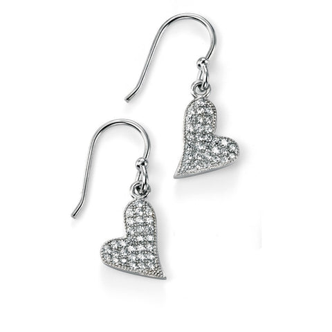 Rhodium, silver and cubic zirconia heart drop earrings