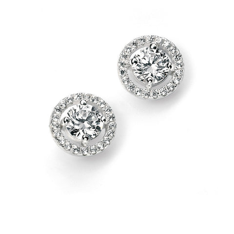 Silver pave disc stud earrings with cubic zirconia