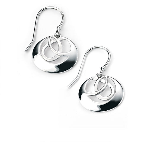 Silver interlinked circle earrings with rhodium plating