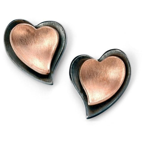 Rose gold & oxidised silver heart stud earrings