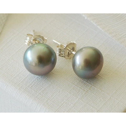 Large pearl stud earrings (White or grey)