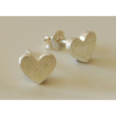 Frosted solid silver heart earrings