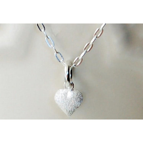 Frosted silver heart necklace