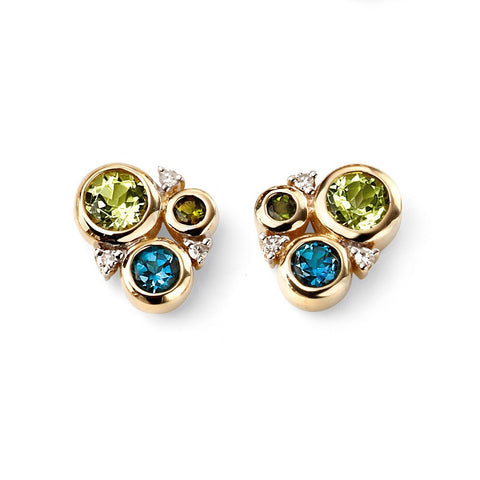 9ct gold, diamond, peridot, topaz and tourmaline cluster stud earrings