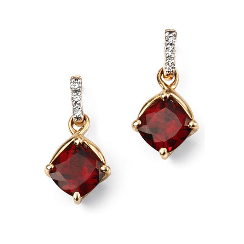 9ct gold, diamond and garnet drop earrings