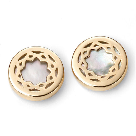 9ct gold with mother of pearl inlay earrings