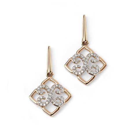 9ct gold and diamond lace drop earrings