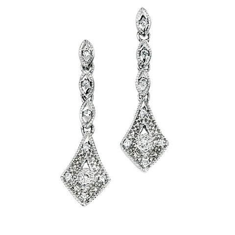 9ct white gold and diamond vintage drop earrings