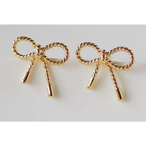 Gold bow earrings