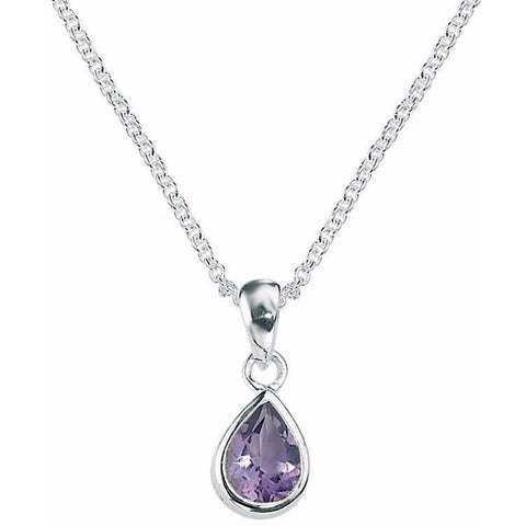 Amethyst and silver teardrop pendant
