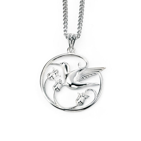 Silver hummingbird necklace with rhodium plating