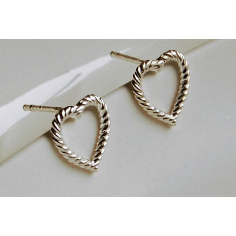 Solid silver rope heart earrings
