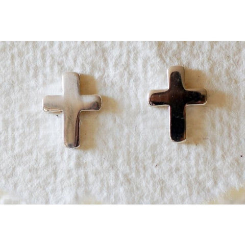 Solid silver cross earrings